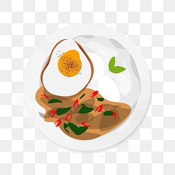 ภาพประกอบข้าวผัดกระเพรา, อาหารไทย, ประเทศไทย, อาหารไทย PNG และ PSD