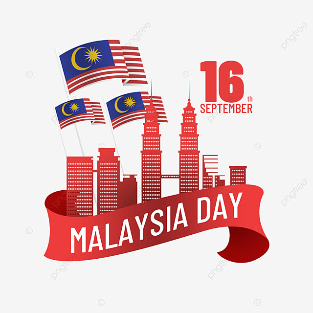 architectural landmarks surrounded by red ribbons malaysia day poster