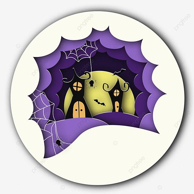 halloween bat house spider paper cut