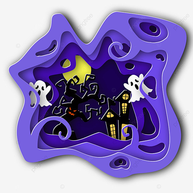 halloween house ghost paper cut
