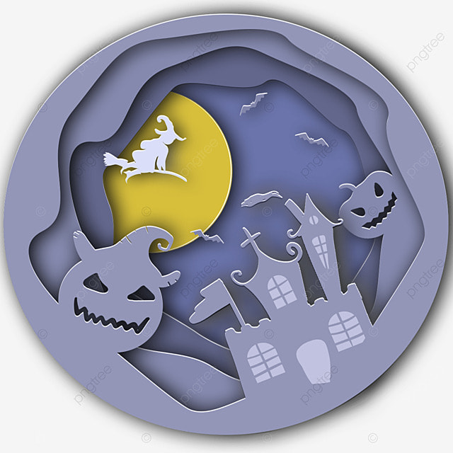 halloween paper cut ghost witch moon