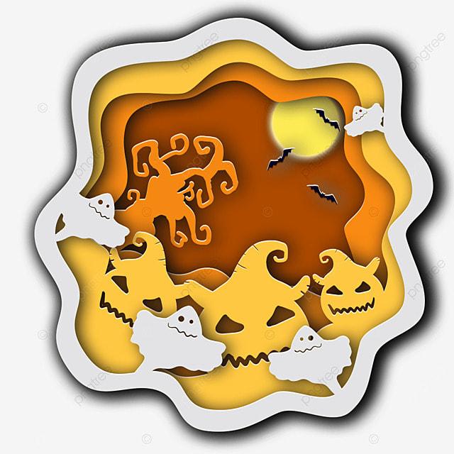 halloween paper cut moon bat pumpkin ghost