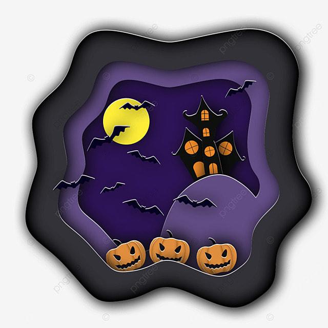 halloween paper cut moon bat pumpkin
