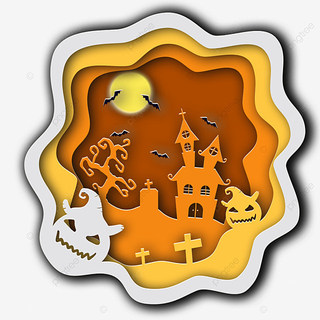 halloween paper cut moon bat tree house