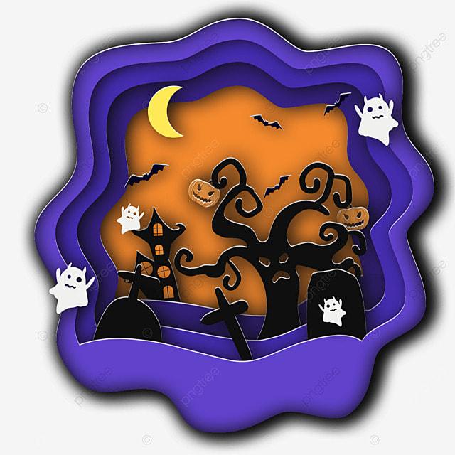 halloween paper cut moon bat tree