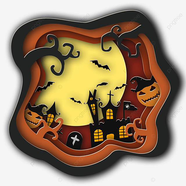 halloween paper cut pumpkin ghost bat