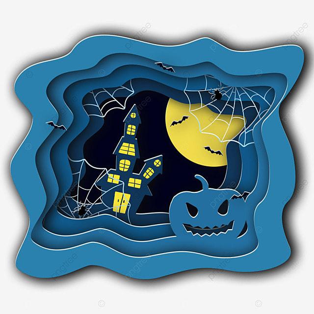 halloween paper cut pumpkin spider web