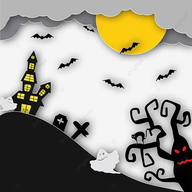 halloween paper cut tree ghost