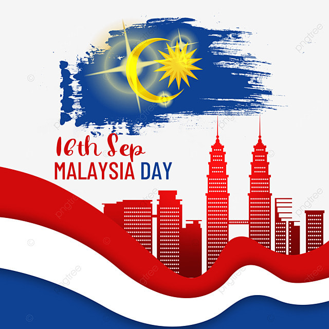 malaysia day red city building silhouette poster