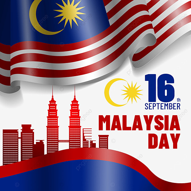 red building silhouette malaysia day flag illustration design