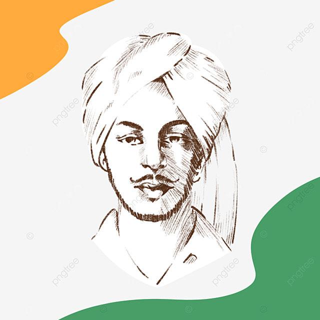 simple line style bhagat singh birthday
