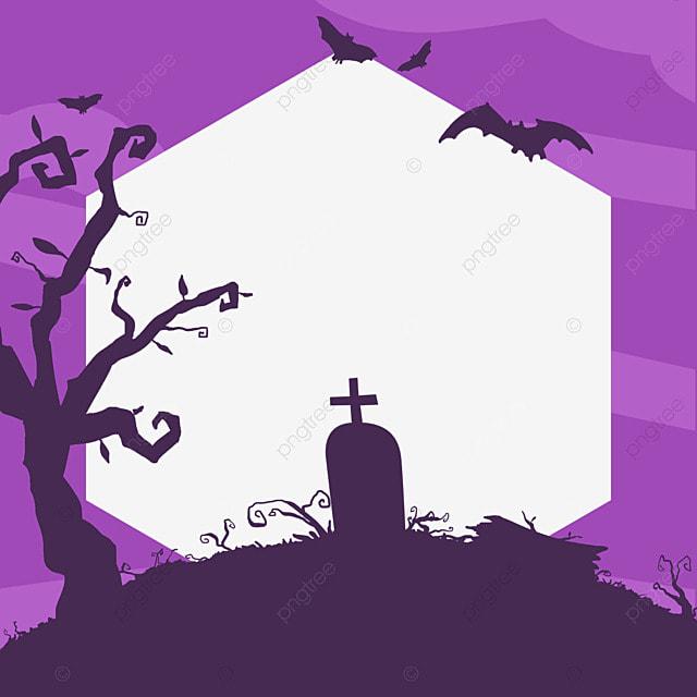 halloween facebook avatar purple graveyard border
