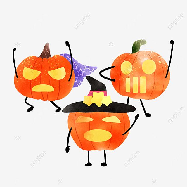 happy watercolor halloween pumpkin celebration holiday