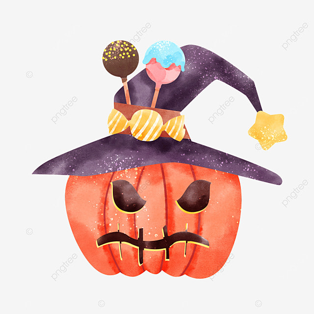 holiday cartoon watercolor halloween pumpkin candy celebration