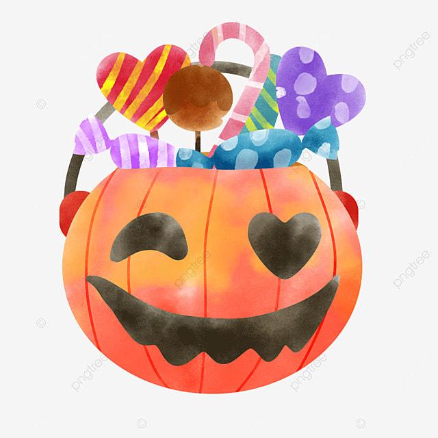 october watercolor halloween pumpkin celebration candy