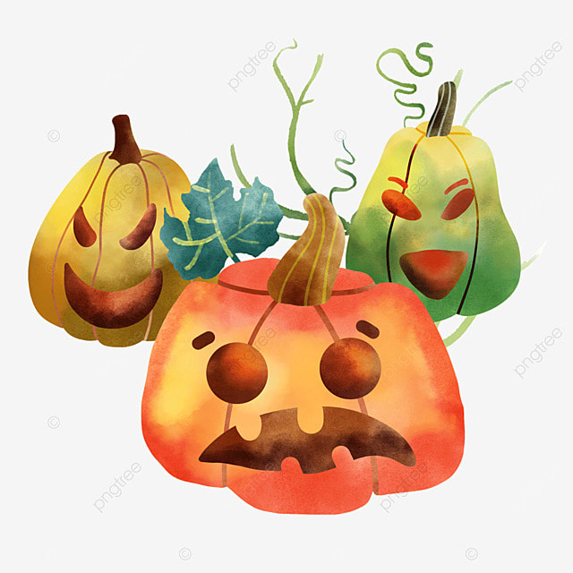 three different expressions of watercolor halloween pumpkins