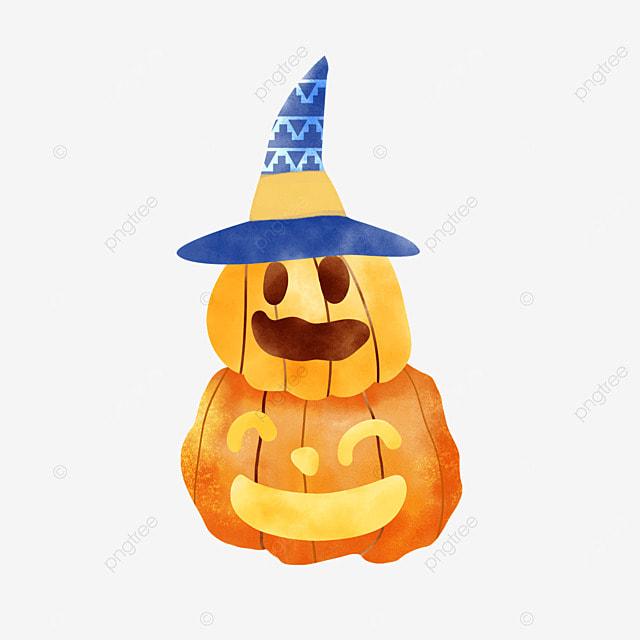 two watercolor halloween pumpkins standing