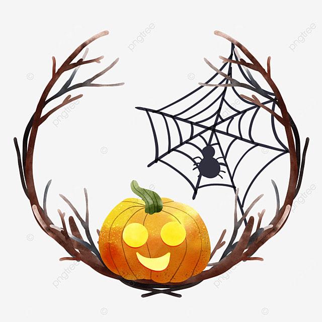 watercolor halloween pumpkin branch spider