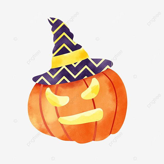 watercolor halloween pumpkin celebration cute decoration