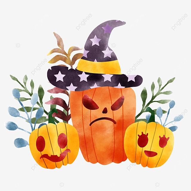 watercolor halloween pumpkin crop cartoon plant