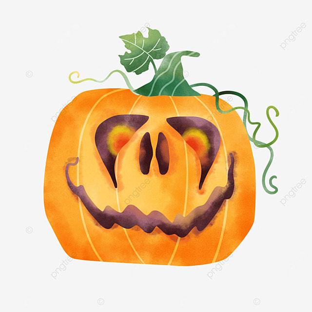 watercolor halloween pumpkin cute emoji