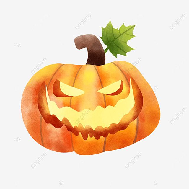 watercolor halloween pumpkin exaggerated expression lantern