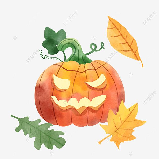 watercolor halloween pumpkin fall leaves