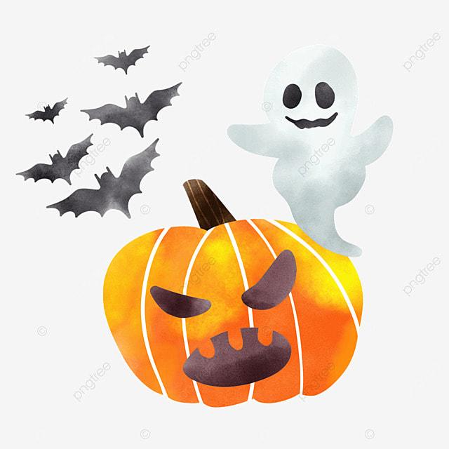 watercolor halloween pumpkin ghosts and bats