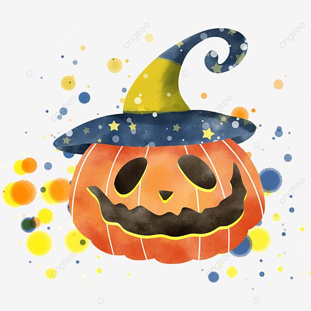watercolor halloween pumpkin happy holiday celebration