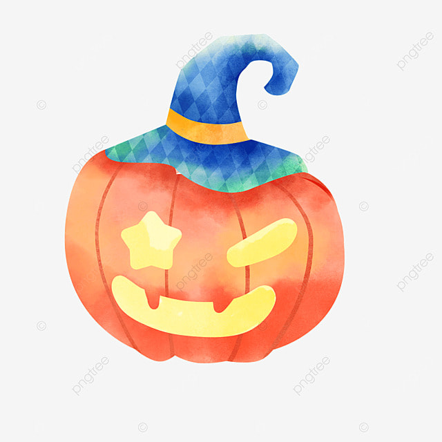 watercolor halloween pumpkin lantern decoration