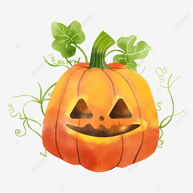 watercolor halloween pumpkin november holiday