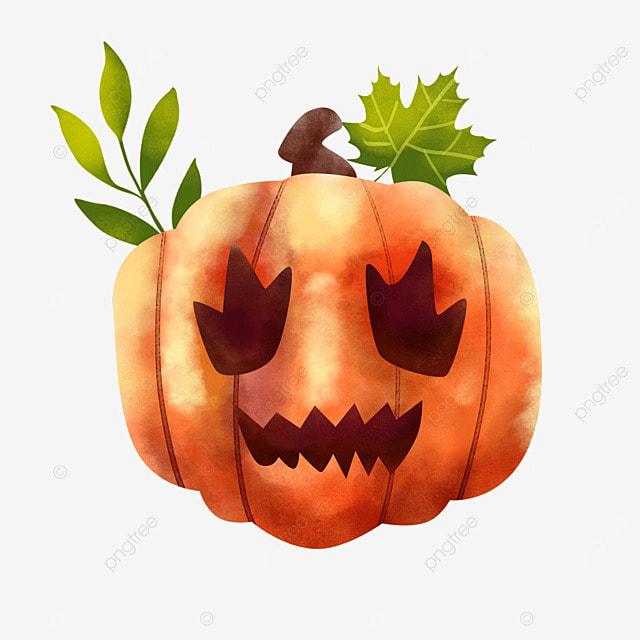 watercolor halloween pumpkin scary emoji