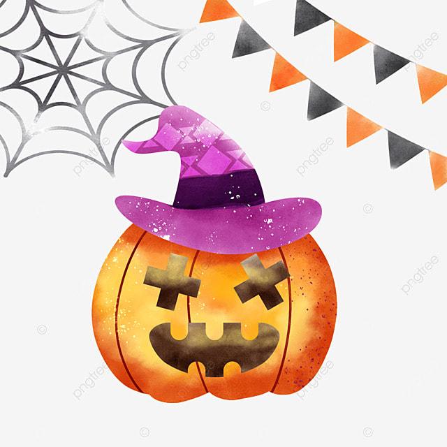 watercolor halloween pumpkin spider web and bunting