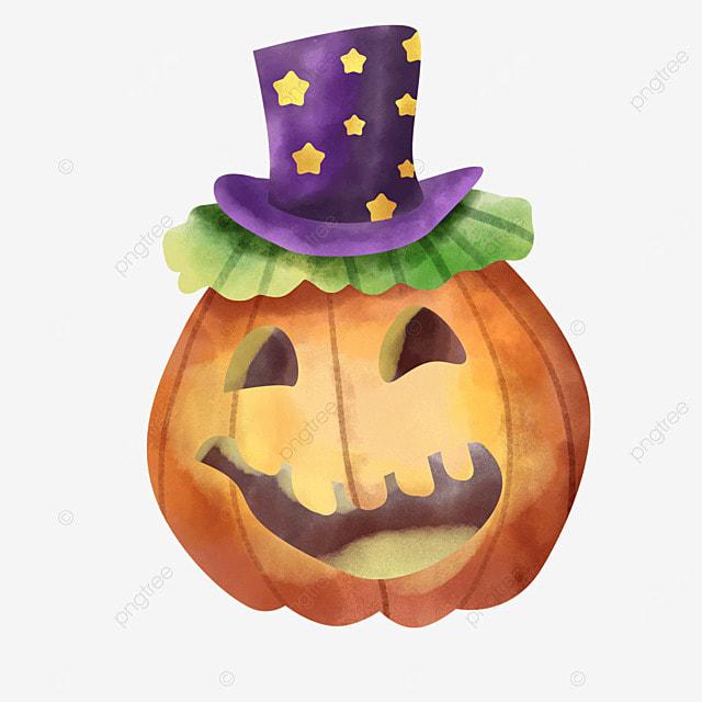 watercolor halloween pumpkin stars hat lantern