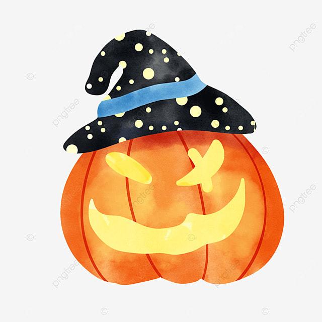 watercolor halloween pumpkin with a magic hat