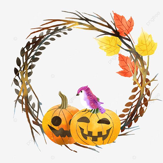 watercolor halloween pumpkin with standing bird