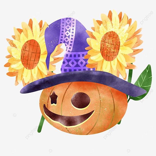 watercolor october halloween pumpkin plant autumn celebration