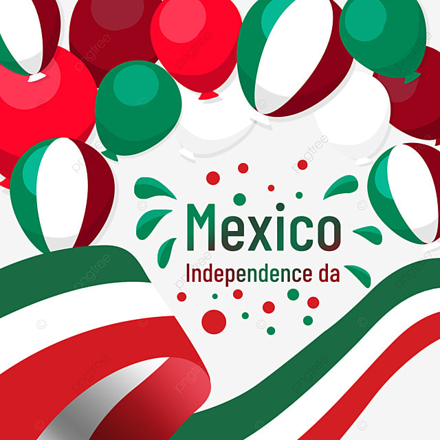 colorful balloon ribbon mexico independence day