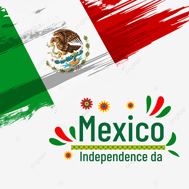 colorful watercolor brushes flag mexico independence day