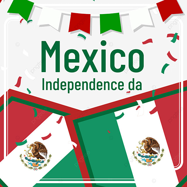 independence day of mexico with small bunting flags