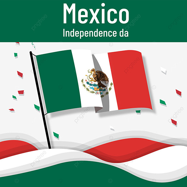 mexico independence day with colorful flag