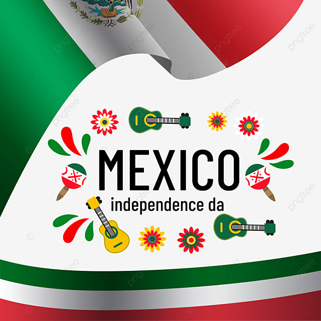 mexico independence day with colorful guitar flag