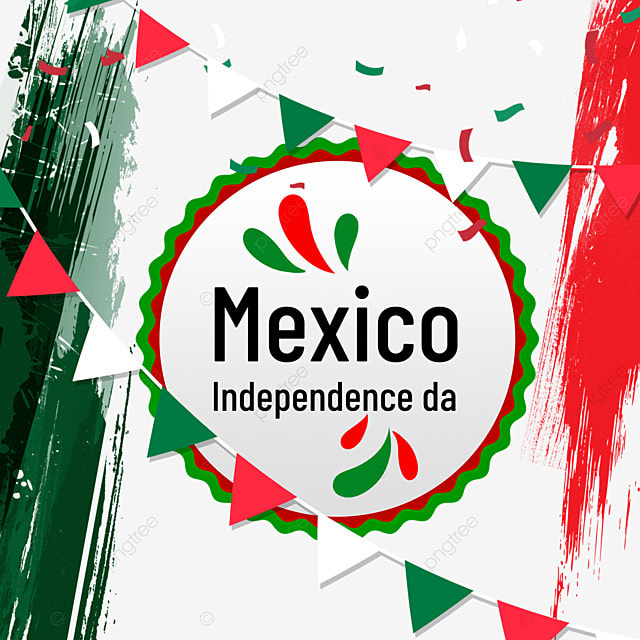 red and green watercolor banner for mexico independence day