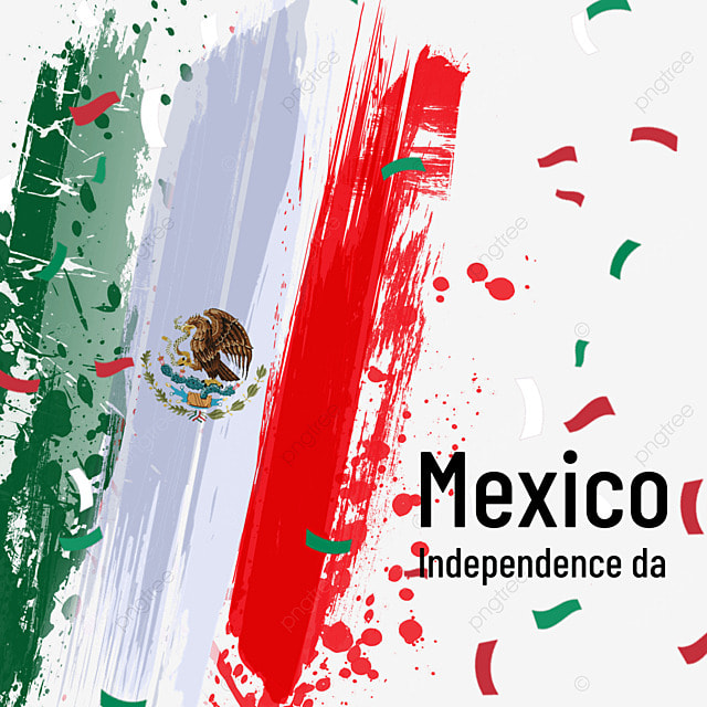 watercolor brush abstract flag mexico independence day