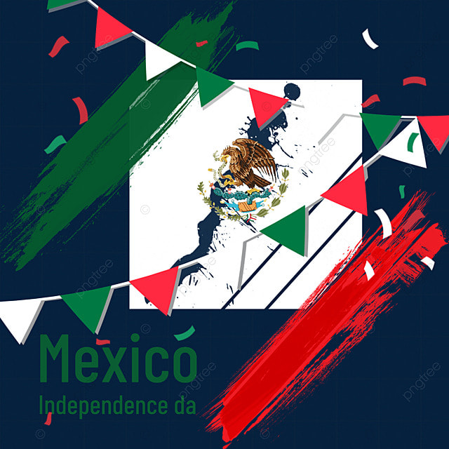 watercolor brush flag mexico independence day