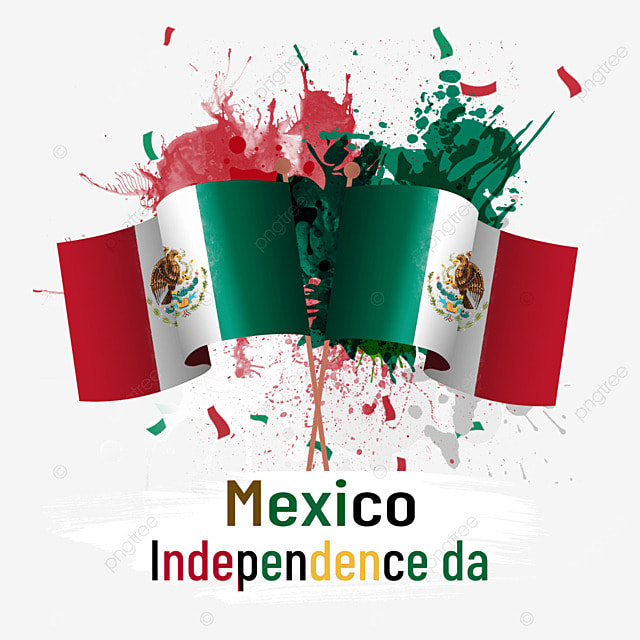 watercolor splash paint flag mexico independence day