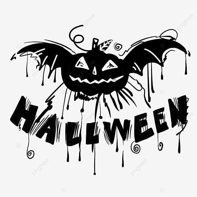black and white painting halloween bat pumpkin art word