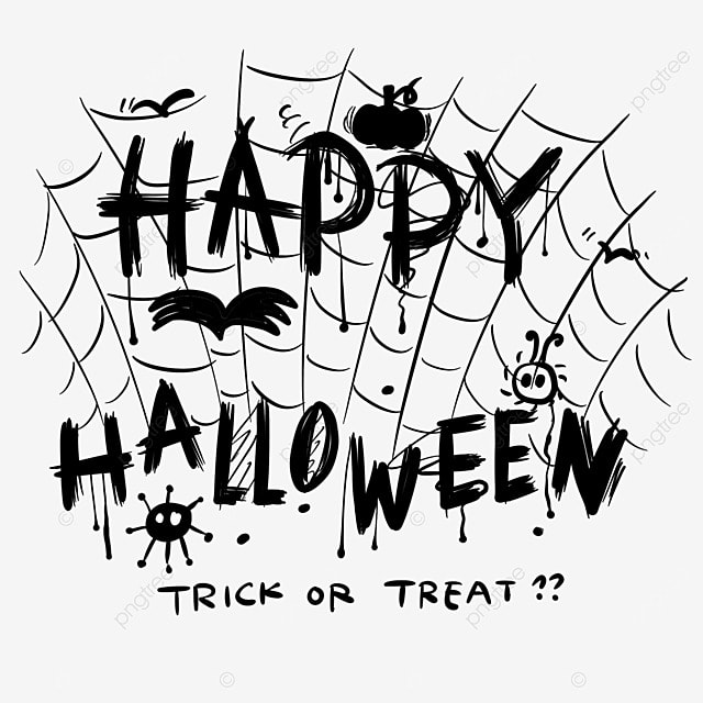 black and white painting style spider web halloween word art