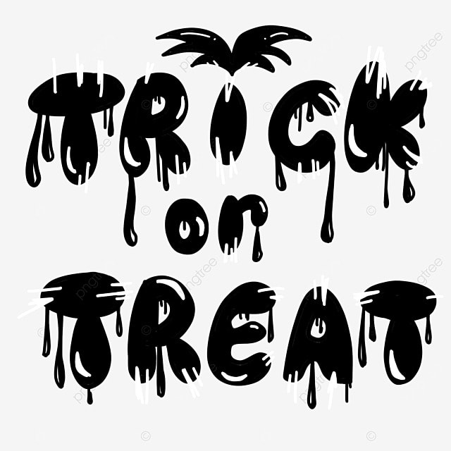 black and white style halloween art word