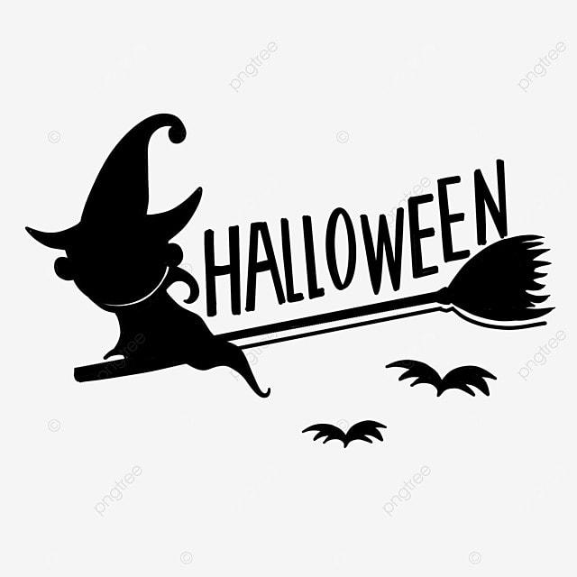 black and white style halloween broom star art word